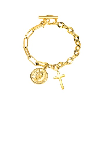 Glamorousky silver Fashion Creative Plated Gold Cross Coin 316L Stainless Steel Bracelet 2B352ACBD17BEAGS_1