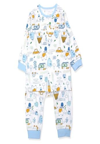 Organic mom white and blue Organic Cotton Hampton Cars Town Lightweight Long Sleeves Pjs 83870KACBE533DGS_1