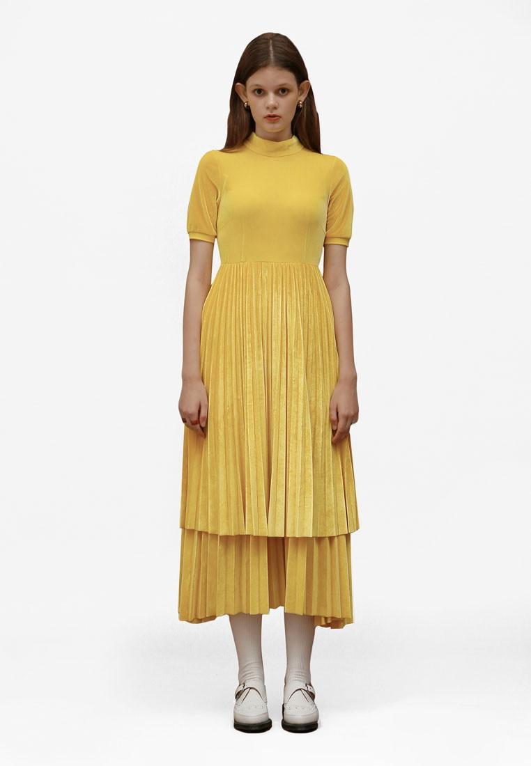 Velvet Pleats Dress