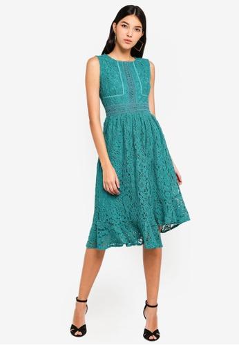 Little Mistress green Lace Midi Dress B1DDCAAD8E5B11GS_1