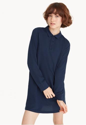 Pomelo navy Mini Long Sleeve Polo Shirt Dress - Navy 8B83FAA3CA90A1GS_1