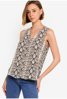 7f7d859d Banana Republic multi and beige Sleeveless Pieced Vee Snake Top  5228DAA7FC639EGS_1