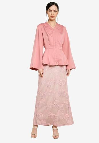 Zalia pink Peplum Kebaya Kurung Set 49200AA4A43CAEGS_1
