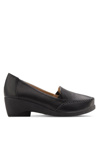 Noveni 黑色 厚底高跟莫卡辛鞋 NO978SH05XWGMY_1