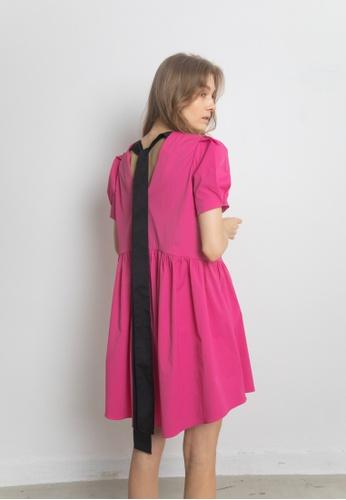 TAV pink [Korean Designer Brand] Back Ribbon Dress - Pink 188F4AA7607EE6GS_1