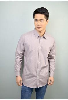 Gray Long Sleeves Polka Dot Print Cotton Button-down Shirt