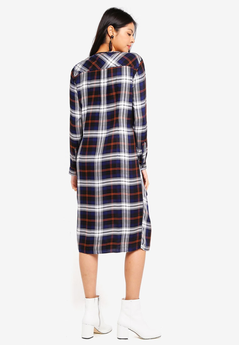 Checked Midi Checked Navy Dress ESPRIT Navy Dress ESPRIT Dress Midi Midi Checked dUwrUp