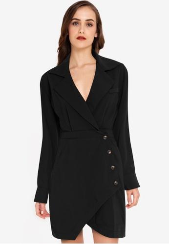 ZALORA WORK black Asymmetric Blazer Dress 2F936AA297CAC7GS_1