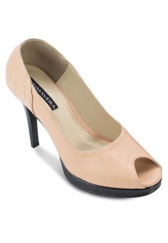 Coco 菱格紋露趾高跟鞋, 女鞋, 厚底esprit home 台灣高跟鞋