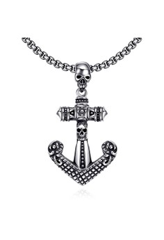 GMYN037 Punk Retro Anchor Shape Skull Necklace Stainless Steel Necklace