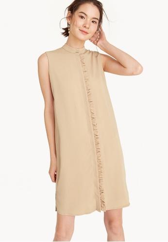 Pomelo beige Midi Sleeveless Frill Placket Dress - Khaki 13AF0AAF772C60GS_1