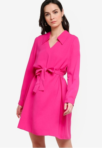 ZALORA WORK pink Mini Dress With Self-Tie 995F5AA014FFE8GS_1