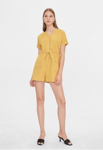 Pomelo yellow Tied Waist Romper - Yellow D8503AA7E4F3CFGS_1