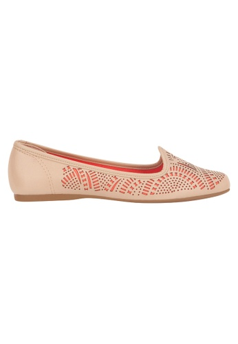 Beira Rio orange and beige Cut Out Design Perforated Flats BE995SH81ESKHK_1