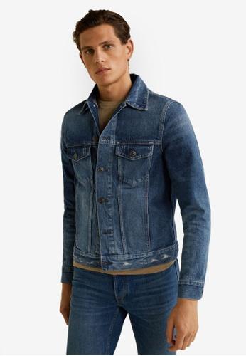 Mango Man 藍色 Dark Wash Denim Jacket 3293EAA78F38F1GS_1