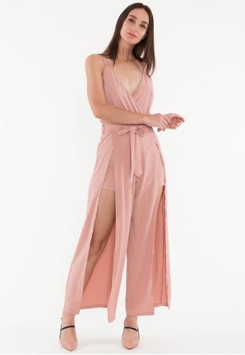 BEBEBEIGE pink BebeBeige V-Neckline Single Strap Sexy Back Jumpsuits 66C59AA0FE8C7DGS_1