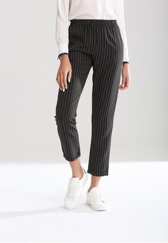 London Rag black Elastic Waist Striped Pants 04CE2AA20C3869GS_1