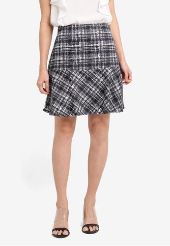 Dorothy Perkins black Checkered Peplum Mini Skirt DO816AA0SRD9MY_1