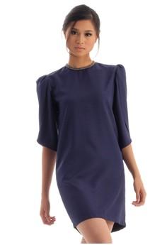 Three-Fourths Scallop Sleeved Dress