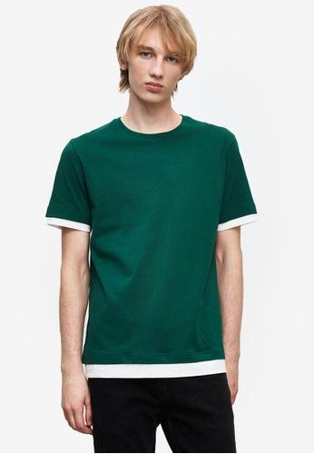 URBAN REVIVO green Trimmed T-Shirt 42F20AA3323E5DGS_1