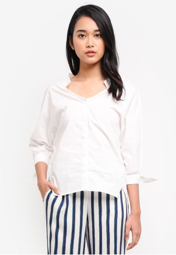 Hopeshow white Wide Neck Shirt 6435CAA46E4412GS_1