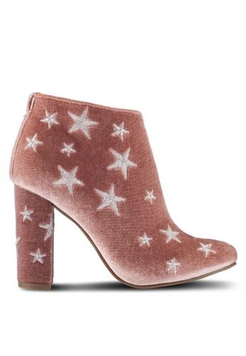 ZALORA 粉紅色 Stars 刺繡 踝靴 65DE6ZZB8E9D75GS_1