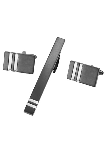 CUFF IT silver Brushed Gunmetal and Silver Stripes Cufflinks and Tie Clip Sets CU047AC2UYIVHK_1