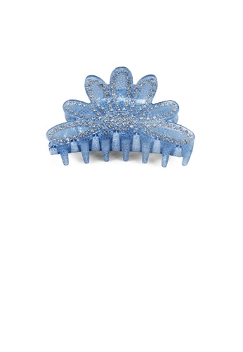 Glamorousky white Fashion and Elegant Blue Flower Hair Claw with Cubic Zirconia D75AFACCF9001AGS_1