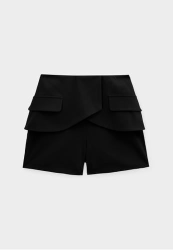 Pomelo black Layered High Waist Shorts - Black 9E254AA82F09AAGS_1