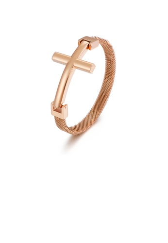 Glamorousky silver Simple Classic Plated Rose Gold Cross 316L Stainless Steel Bangle A064DAC0601FA9GS_1