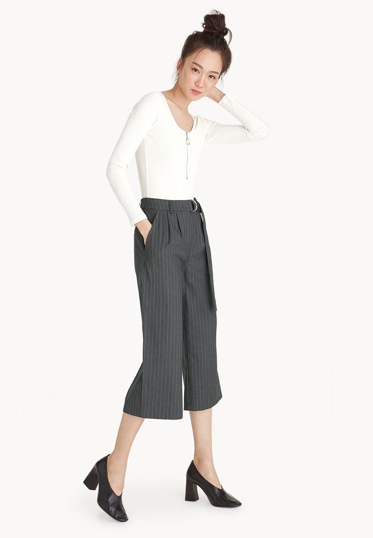 Pinstripe Pomelo Grey Culottes Waist Tie Dark 6YYOqH0