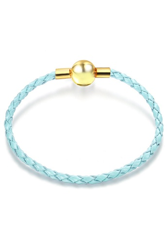 YOUNIQ blue and gold YOUNIQ 18cm Leather Charm Bracelet with Ribbon Gift Box - Gold & Blue 61869AC10DCC96GS_1