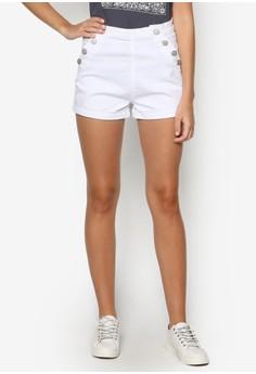 Side Button Denim Shorts