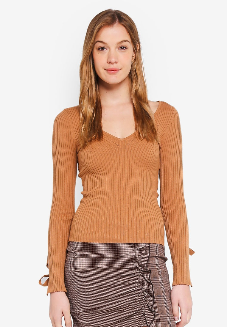 Sandy Brown Sweater Top Sleeve Isabelle Tie Guess TRSYqwZPXx