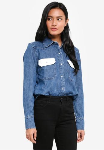 Calvin Klein white and blue Western Lean Contras Shirt - Calvin Klein Jeans 4A3CAAA57C257EGS_1