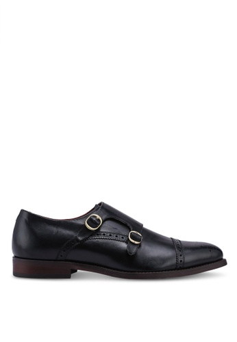 Burton Menswear London black Black Leather Double Strap Monk Shoes With Brogue Detailing 4C389SHB60F01DGS_1