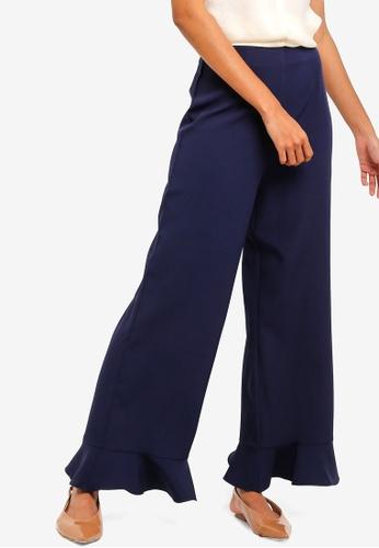 ZALORA BASICS navy Basic Fluted Hem Pants 5E097AAAE74EE7GS_1