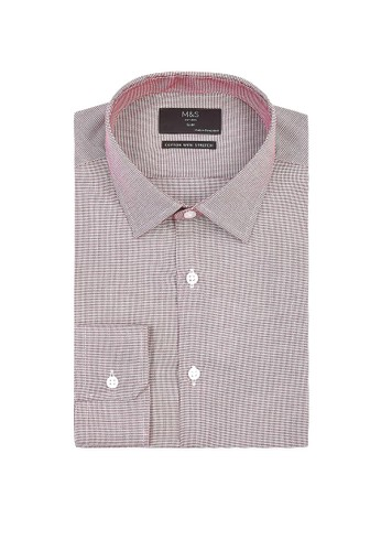 MARKS & SPENCER red Slim Fit Easy Iron Shirt with Stretch 03E87AA43DEF5EGS_1