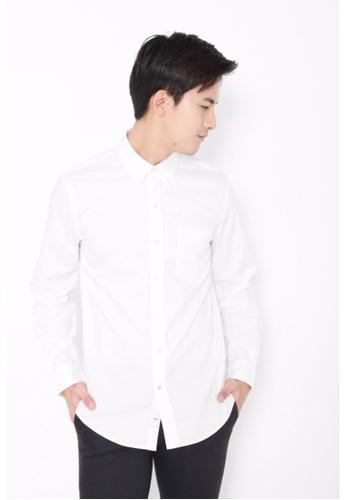 Dockers white Dockers Textured Dobby Long Sleeve Shirt Paper White DO282AA0FW0PSG_1