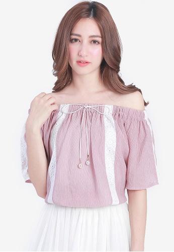Yoco pink Bubble Hem Off Shoulder Top 97A0EAA9656476GS_1