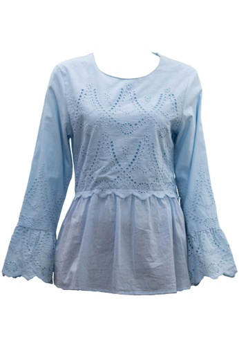 Ashura blue Mareena Blouse With Embroidery Motif F525EAA38D8035GS_1