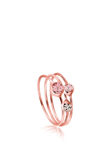 ELLI GERMANY pink Ring Set Crystals Rose Gold Plated 0FB60ACC794DB4GS_1