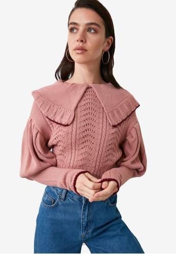 Trendyol pink Collar Knit Sweater 11E95AA3CB3600GS_1