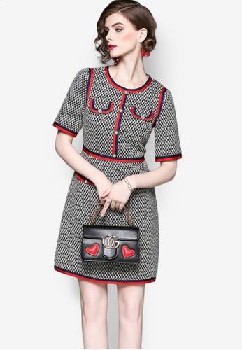 Sunnydaysweety multi F/W Check Pattern Short Sleeves Knitted One Piece Mini Dress A0831370 F6A56AA550FCDEGS_1