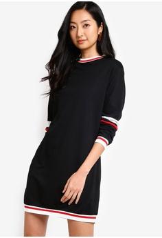 81b8a4988 Something Borrowed black Drop Shoulder Stripe Trim Sweater Dress  20016AADE5A58BGS_1