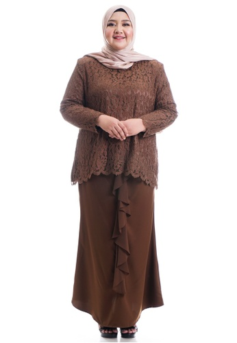 Ashura brown Harera Kurung With Drape Skirt Plus Size 7C607AACB7C320GS_1