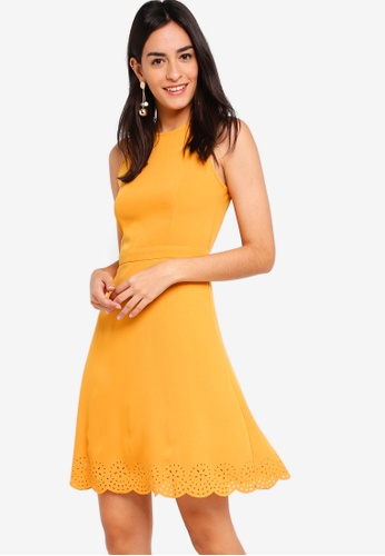 ZALORA yellow Laser Cut Sleeveless Dress 9495BAA7B00919GS_1