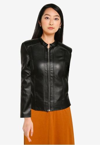 ZALORA BASICS black Front Zipper Pu Jacket A64A4AACFB4566GS_1