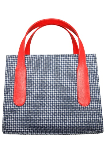 72 SMALLDIVE blue 72 Smalldive Womens Women Large Eco Wool & Cotton Fabric Tote Bag in Blue With Coral Handle A36C3ACCC75B35GS_1