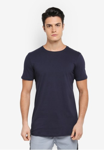 Cotton On navy Essential Longline Curved Hem Tee 6329EAA533E53CGS_1